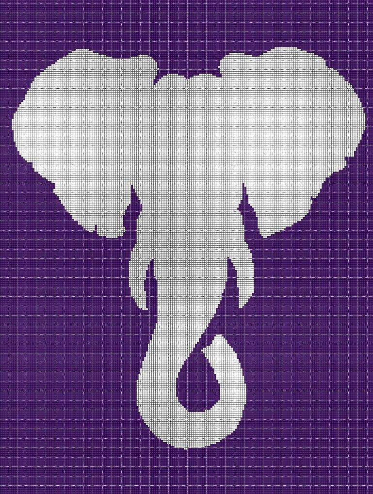 Elephant4 silhouette cross stitch pattern in pdf