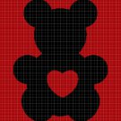 Love Teddy bear silhouette cross stitch pattern in pdf