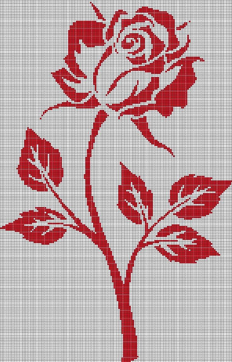 ROSE2 silhouette cross stitch pattern in pdf