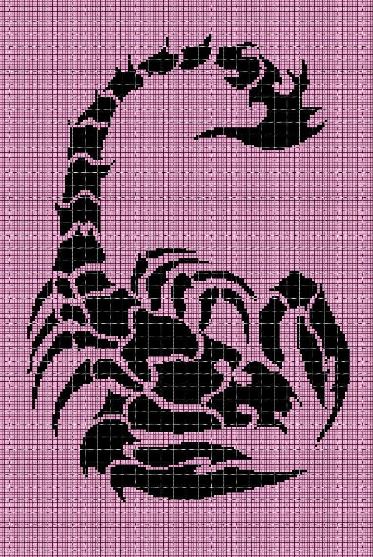 Scorpio silhouette cross stitch pattern in pdf