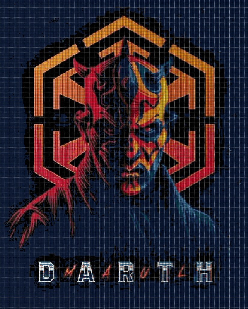 2 Darth Maul cross stitch pattern in pdf DMC