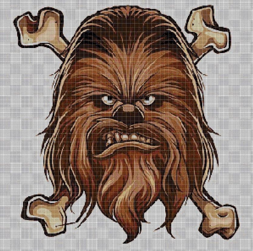 Chewbacca cross stitch pattern in pdf DMC