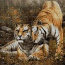 Tiger couple cross stitch pattern in pdf DMC