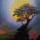 Tree and moon cross stitch pattern in pdf DMC