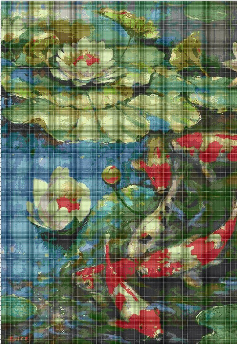 Water lilies and Koi fishes cross stitch pattern in pdf DMC