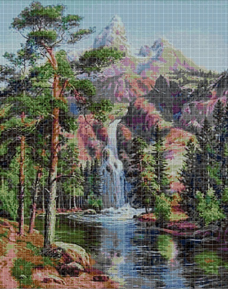 Waterfall in the mountains cross stitch pattern in pdf DMC