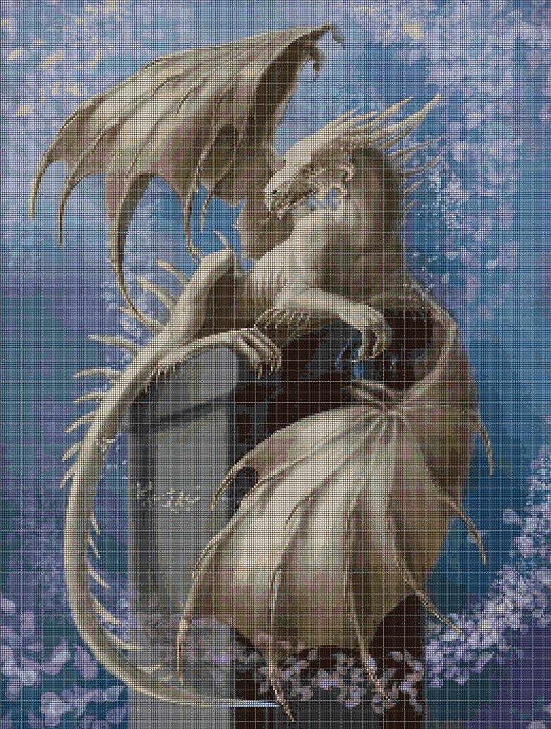 White dragon 2 cross stitch pattern in pdf DMC