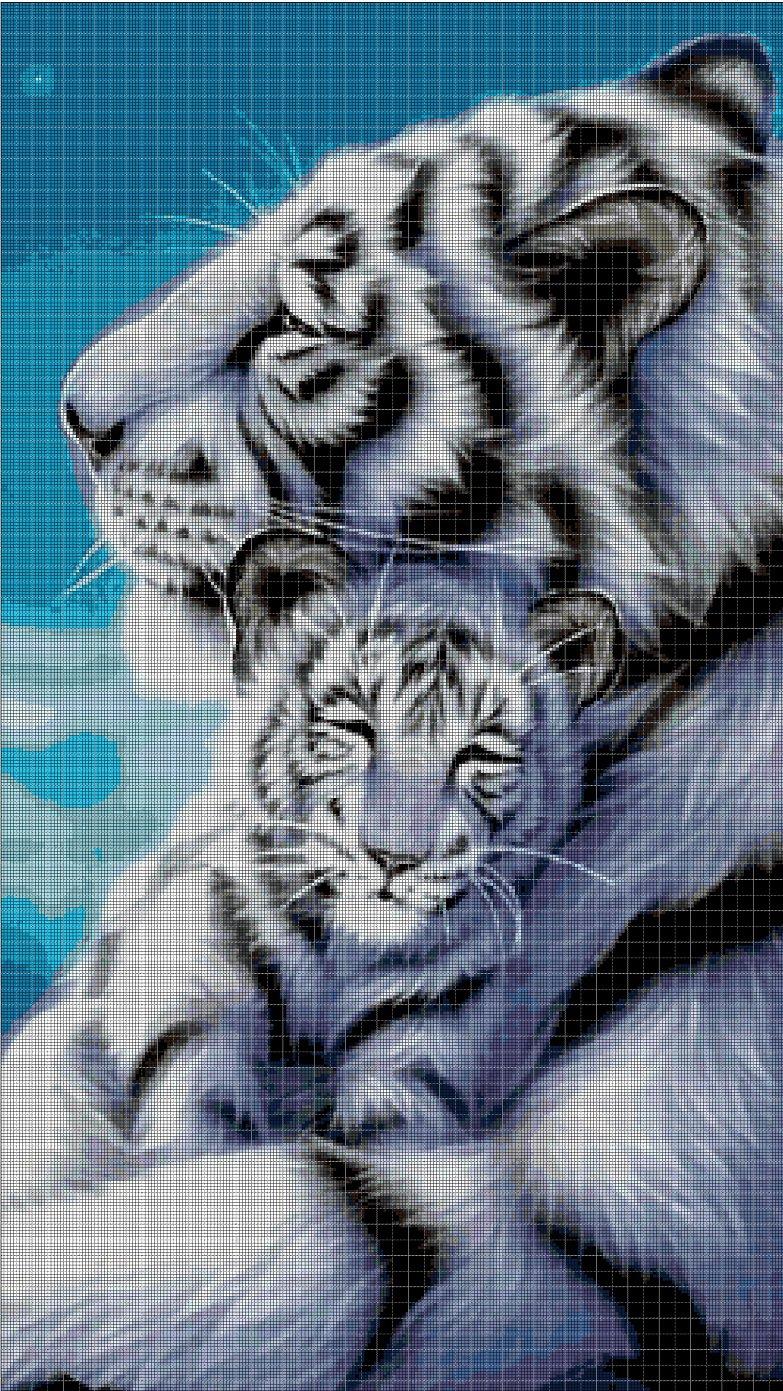 White tigers cross stitch pattern in pdf DMC