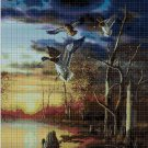 Wild ducks at sunset cross stitch pattern in pdf DMC