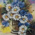 Wildflowers in a vase cross stitch pattern in pdf DMC