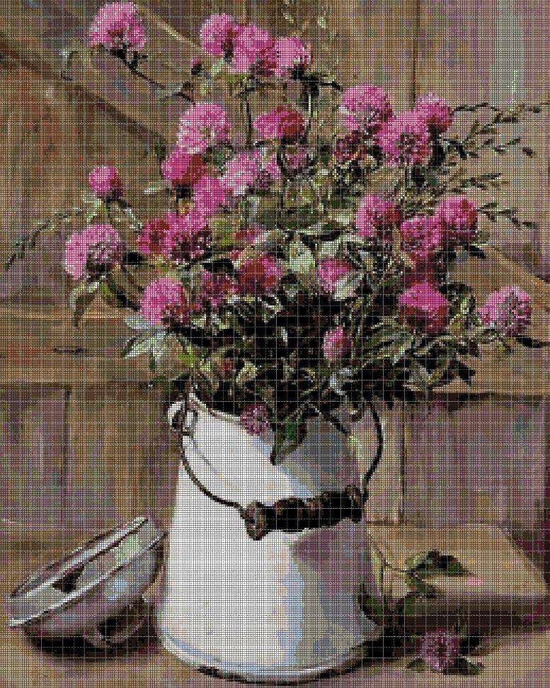 Wildflowers in milk jug cross stitch pattern in pdf DMC