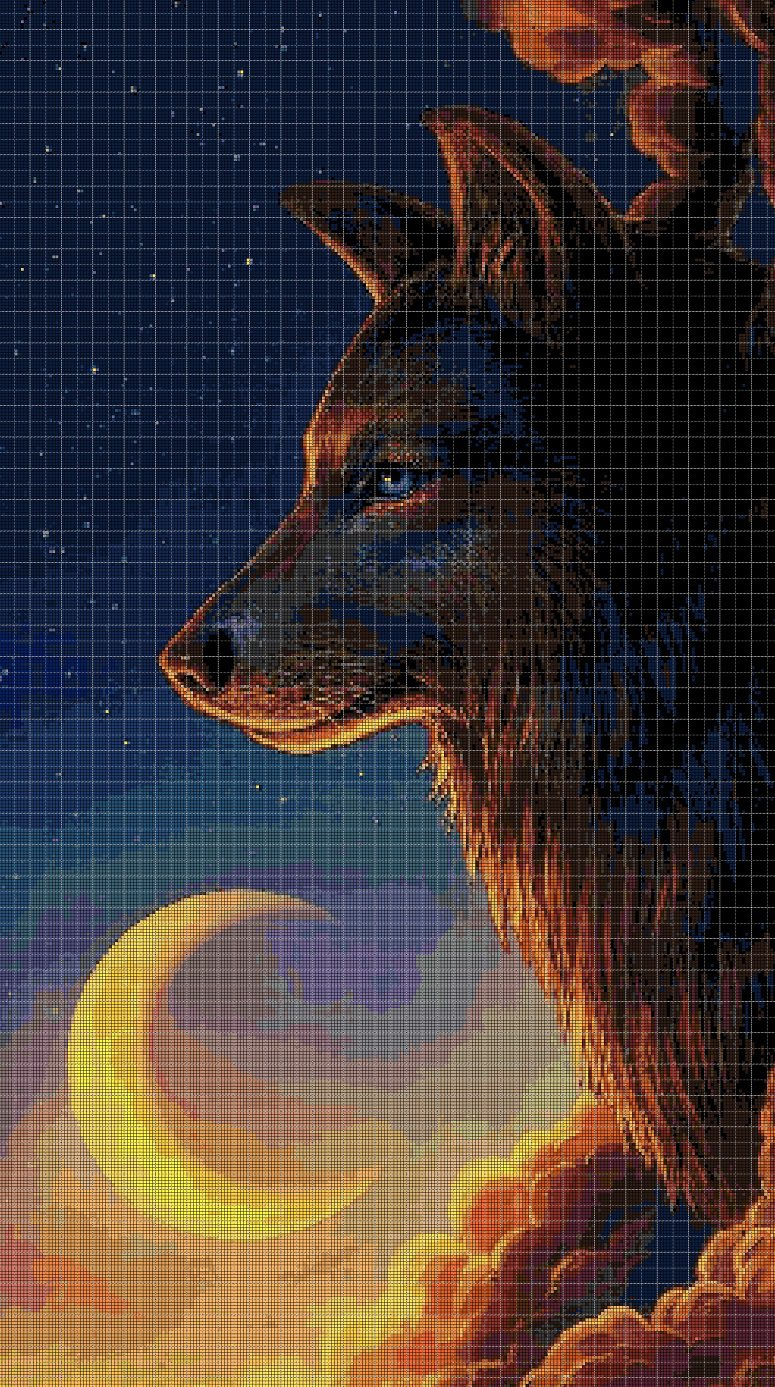 Wolf and the moon cross stitch pattern in pdf DMC