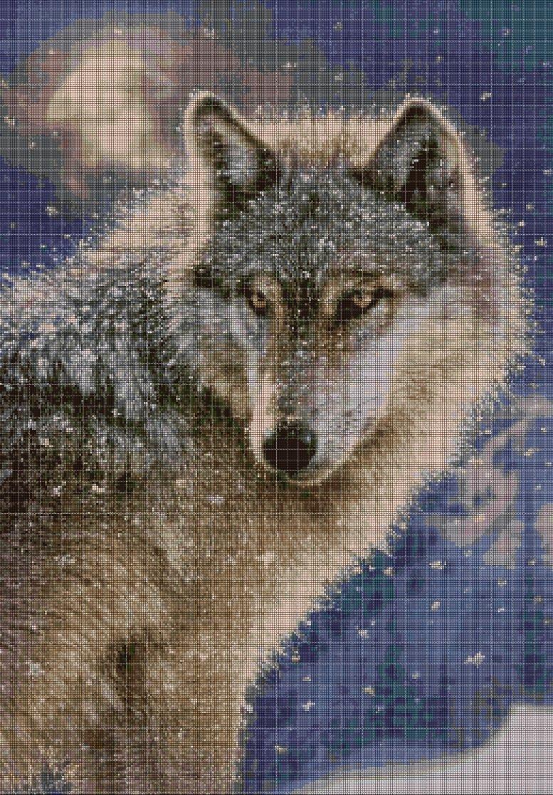 Wolf 2 cross stitch pattern in pdf DMC