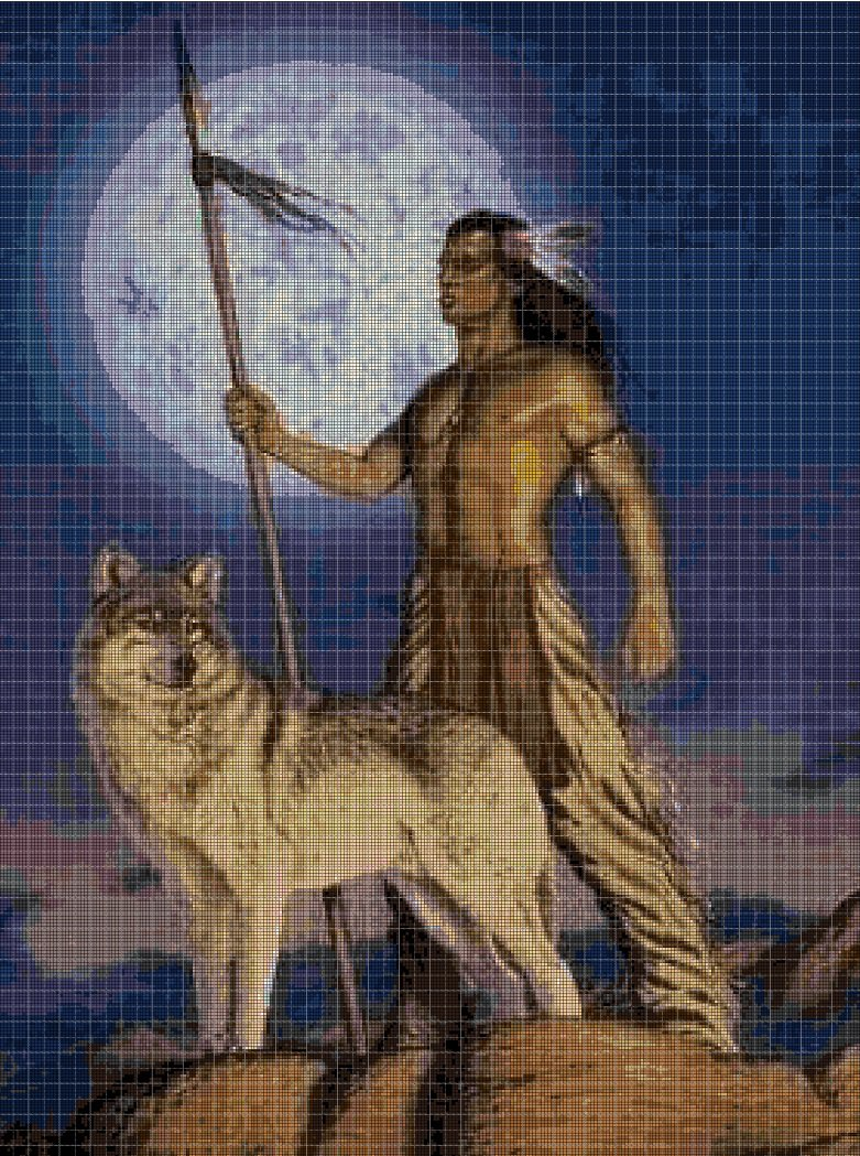 Wolf and indian cross stitch pattern in pdf DMC