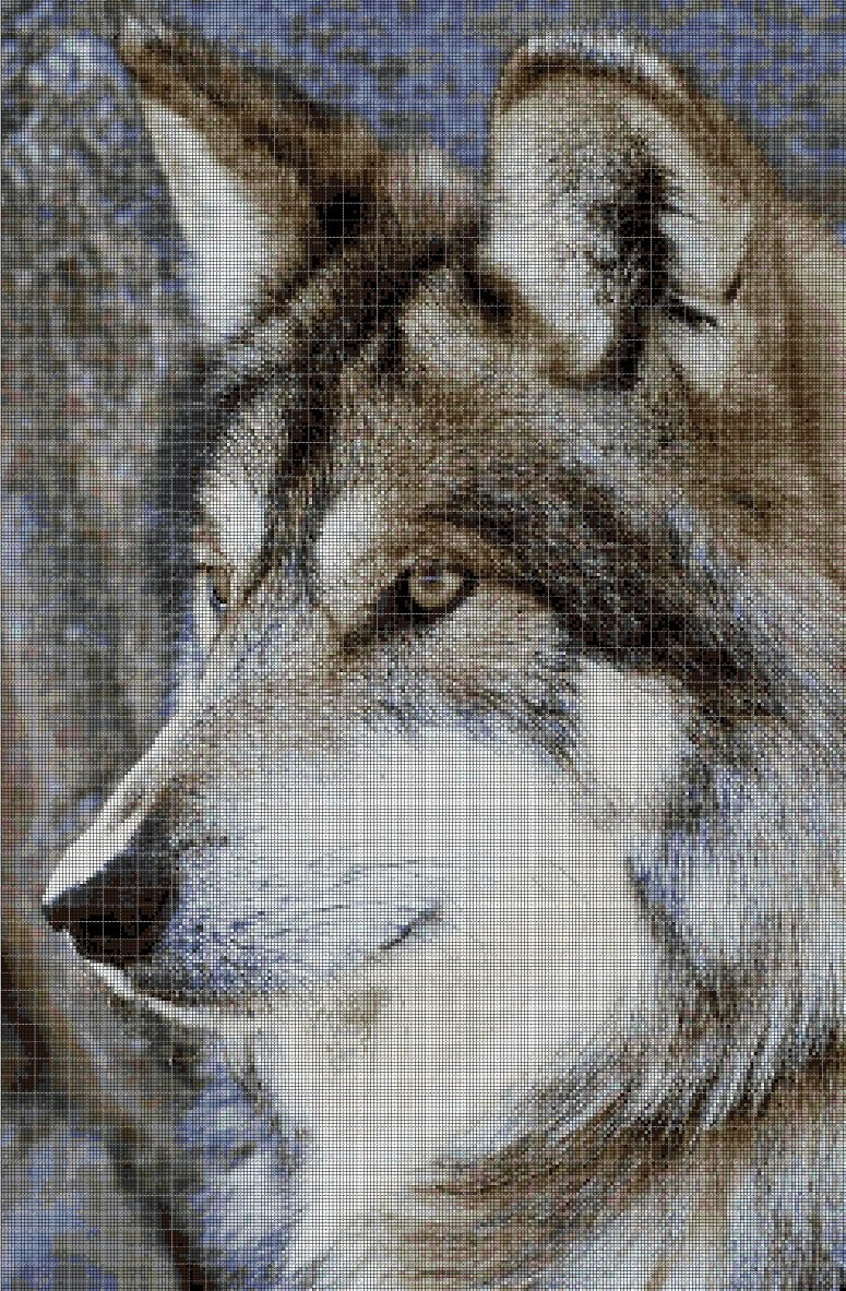 Wolf head 2 cross stitch pattern in pdf DMC