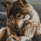 Wolf with flower cross stitch pattern in pdf DMC