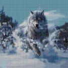 Wolves in winter 3 cross stitch pattern in pdf DMC