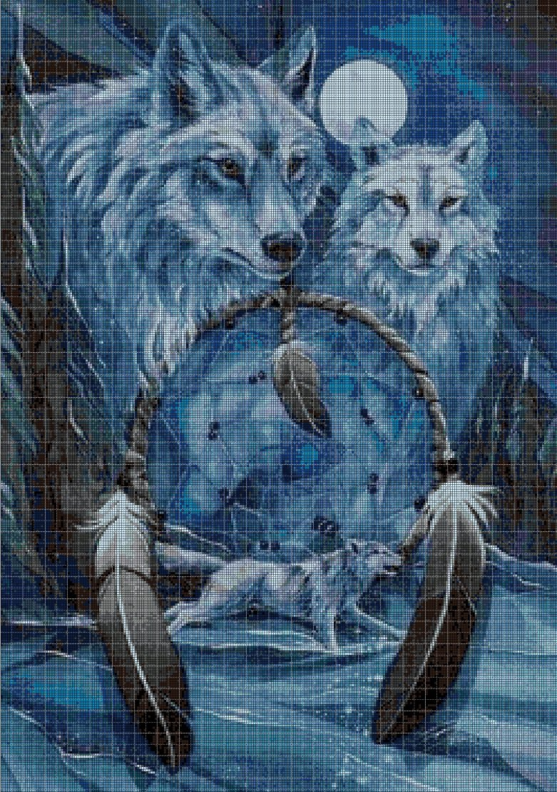 Wolves with dream catchers cross stitch pattern in pdf DMC