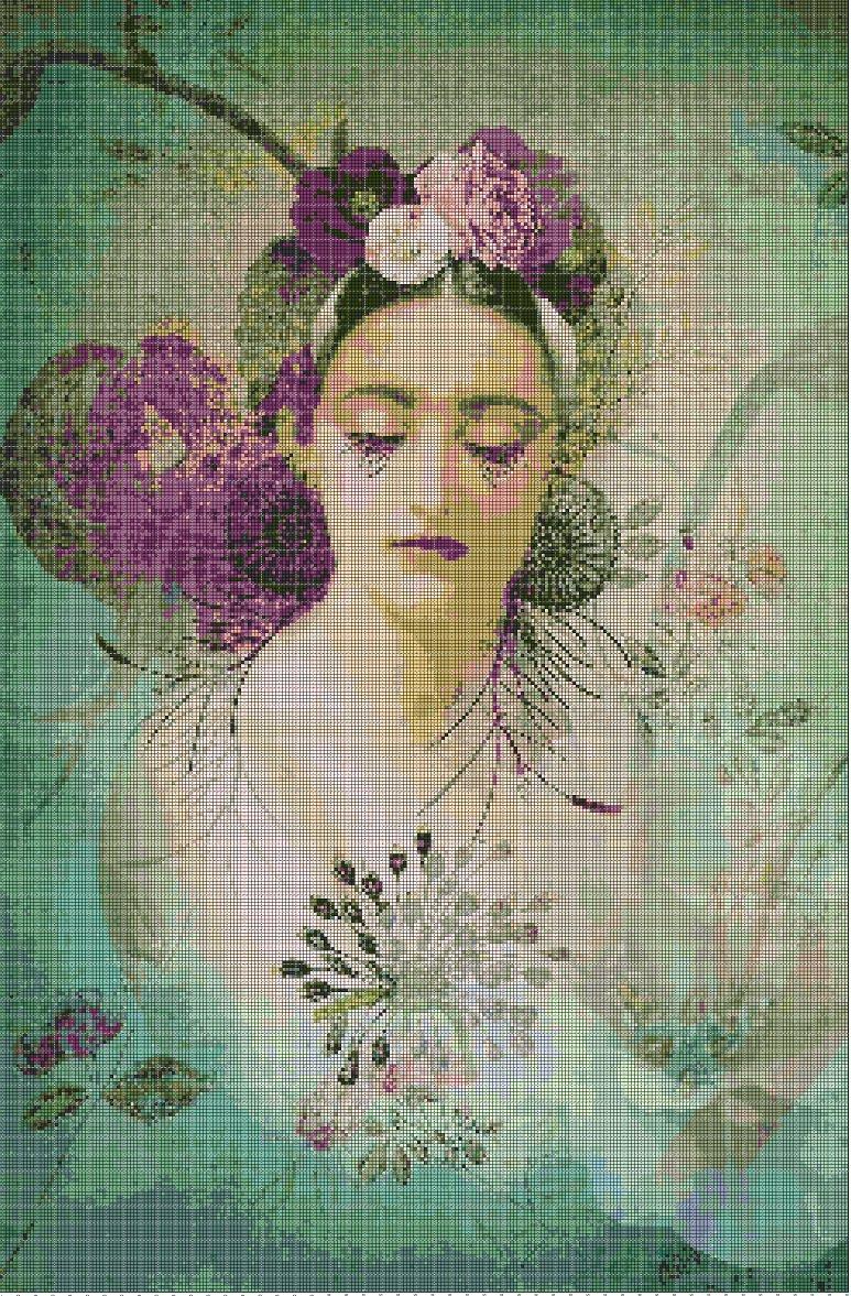 Woman in green cross stitch pattern in pdf DMC