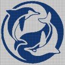 Yin-Yang Dolphins silhouette cross stitch pattern in pdf