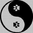 Ying-Yang pet paw silhouette cross stitch pattern in pdf
