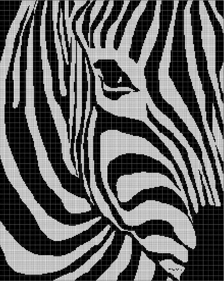 Zebra silhouette cross stitch pattern in pdf