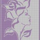 Woman Rose silhouette cross stitch pattern in pdf