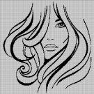 Woman face1 silhouette cross stitch pattern in pdf