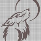 Wolf and moon silhouette cross stitch pattern in pdf