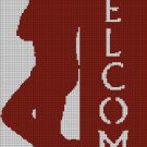 Welcome cowboy silhouette cross stitch pattern in pdf