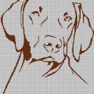Vizsla dog silhouette cross stitch pattern in pdf