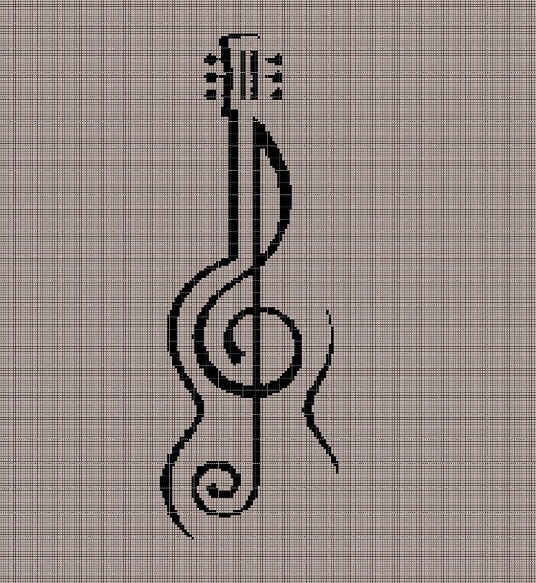 Violin and violin key  silhouette cross stitch pattern in pdf