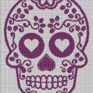 Violet sugar skull  silhouette cross stitch pattern in pdf