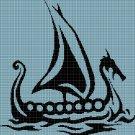 Viking Ship silhouette cross stitch pattern in pdf