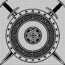 Viking Shield silhouette cross stitch pattern in pdf