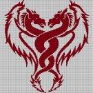 Twin dragons silhouette cross stitch pattern in pdf