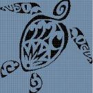 Turtle in blue silhouette cross stitch pattern in pdf