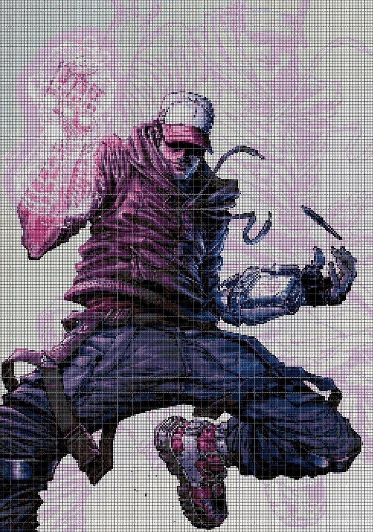 "Modern ""Thanos"" cross stitch pattern in pdf DMC"