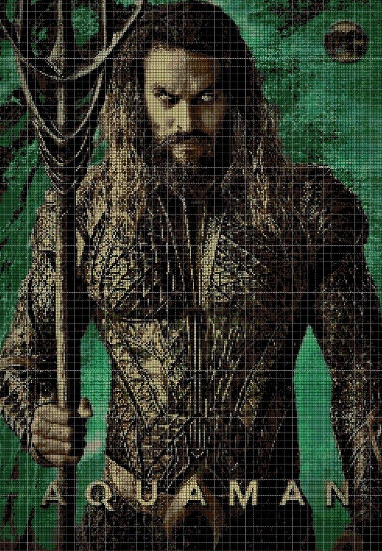 JL Aquaman2 cross stitch pattern in pdf DMC