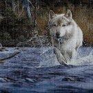 Wolf in the water  cross stitch pattern in pdf DMC