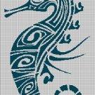Tribal seahorse  silhouette cross stitch pattern in pdf