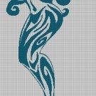 Tribal mermaid  silhouette cross stitch pattern in pdf