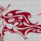 Tribal bull  silhouette cross stitch pattern in pdf