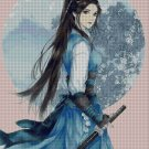 Warrior girl and moon  cross stitch pattern in pdf ANCHOR