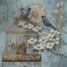 Vintage birds cross stitch pattern in pdf DMC