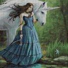 Unicorn and the girl 3  cross stitch pattern in pdf DMC