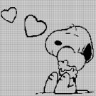 Snoopy with heart  silhouette cross stitch pattern in pdf