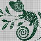 Small chameleon silhouette cross stitch pattern in pdf