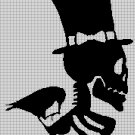 Skull and crow silhouette cross stitch pattern in pdf