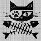 Skeleton Cat silhouette cross stitch pattern in pdf